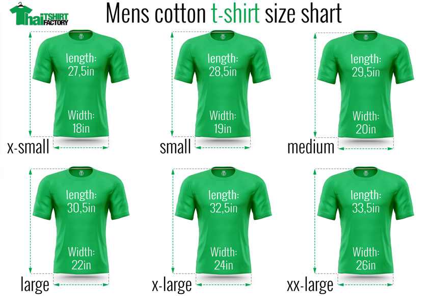 Thai t-shirt factory size chart cotton men t-shirt